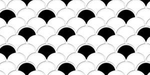 Tile - Scalloped Black White