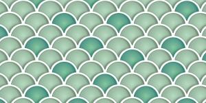 Tile - Scalloped Green Glass